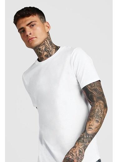 XHAN Lacivert Bisiklet Yaka T-Shirt  Beyaz